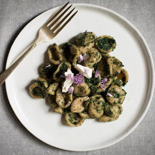 Rye Orecchiette with Stinging Nettles, Sheep'S Milk Feta, and Chive Blossoms Recipe