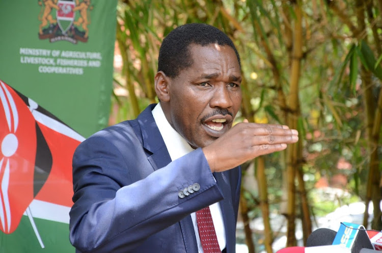 Agriculture CS Peter Munya during a press conference on the review and update of sugarcane and sugar prices at Kilimo House on March 30th 2021./DOUGLAS OKIDDY.