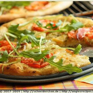 Celery Pesto Rocket and Tomato Pizza