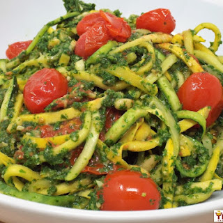 Squoodles and Zoodles in Kale Pesto with Tomatoes Recipe