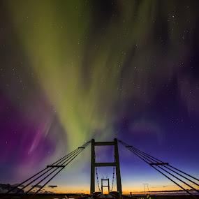 Bridge by Ruslan Stepanov - Landscapes Sunsets & Sunrises ( iceland, sky, northern lights, aurora borealis, sunrise, bridge )