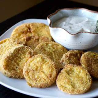 Ranch Fried Green Tomatoes with a Chili Ranch Dipping Sauce.