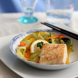 Ginger Cod with Zucchini Ribbon Salad.