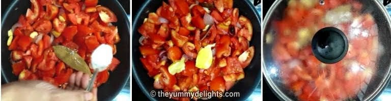 addition of tomato, butter and salt for making butter chicken recipe