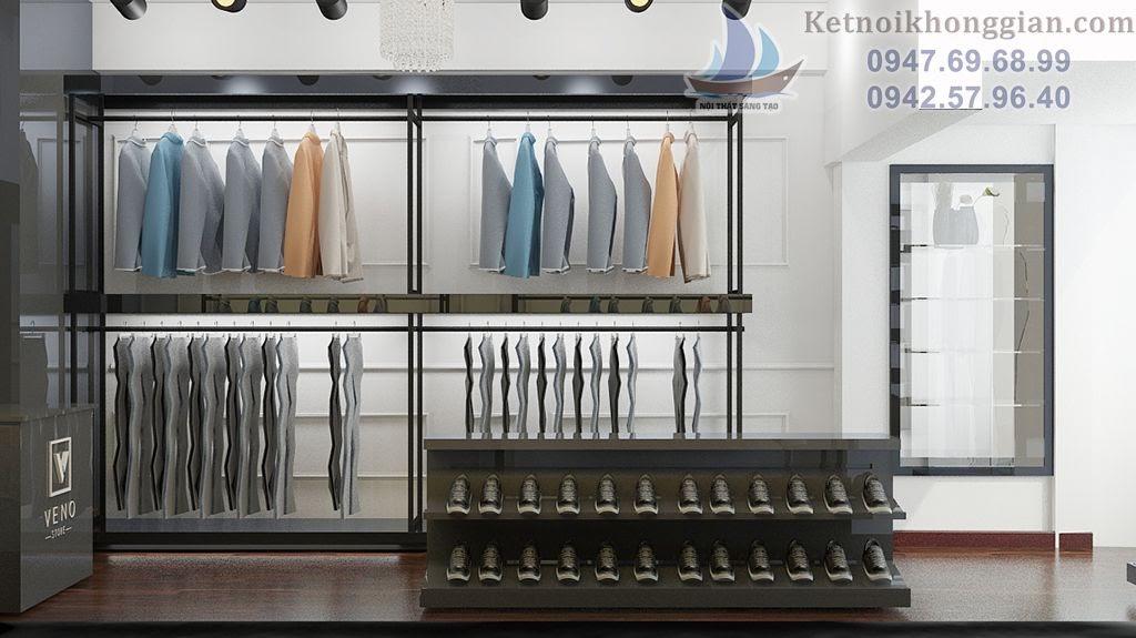 Thiết kế shop thời trang công sở với nội thất khung kim loại