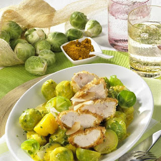 Curried Brussels Sprouts with Coconut Chicken