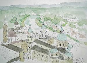 Photo: ザルツブルグ2   ホーエンザルツブルグ城砦にケーブルカーで上ると大聖堂や大司教の宮殿が目の下に見える。