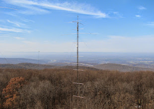 Photo: 180' 15m tower with stacked yagis and 80m wire beam support as viewed from 120' 10m tower. Looking west towards Skyline Dr. Shenandoah
