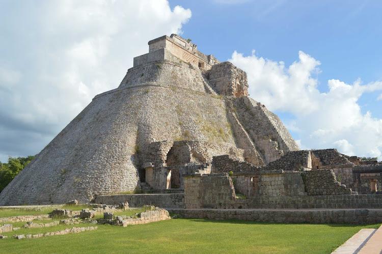 The massive Pyramid of the Magician, part of the Maya ruins at Uxmal in Mexico's Yucatan.