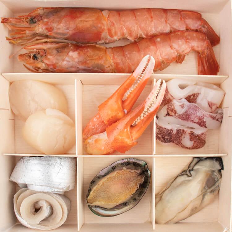 實際產品照〔獨家招牌〕日常特撰•海鮮木盒|頂級選料•魚蝦蟹貝軟體通通有•蒸煮炒炸烤皆可