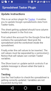 Spreadsheet Tasker Plugin- screenshot thumbnail