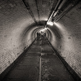 Greenwich foot tunnel by Rune Nilssen - Buildings & Architecture Public & Historical ( b&w, london, themsen, foot, bw, greenwich, tunnel, black and white, interior, building, monotone, , vertical lines, pwc )