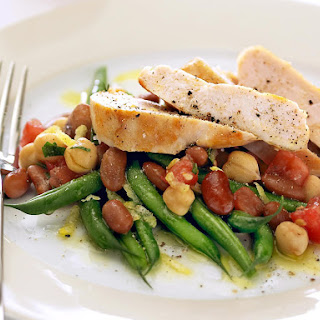Pan Fried Chicken with Beans and Chickpeas.
