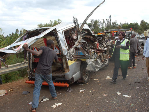 The wrekage of a matatu after an accident that killed eight people in Ngonyi area, Meru county on Saturday. /DENNIS DIBONDO