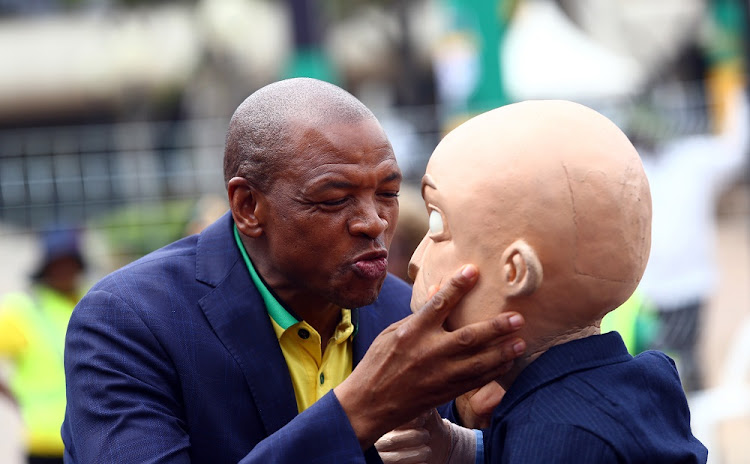 North West Chairperson, Supra Mahumapelo blows a kiss to Chester Missing a day after his prefered ANC presidential candidate Dr Nkosazana Dlamini Zuma lost to Cyril Ramaphosa.