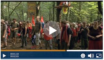Bild aus Video: Demonstrierende mit Plakaten und Fahnen im Wald.