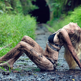 Muddy by Adam Beniston - People Portraits of Women ( dirty, traintracks, bikini, sexy, muddy )