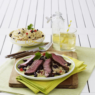 Tequila Marinated Flank Steak with Rice and Beans