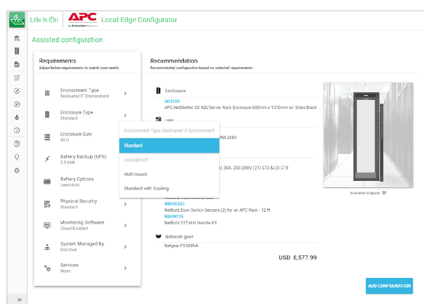 Example of a configurator for edge solutions