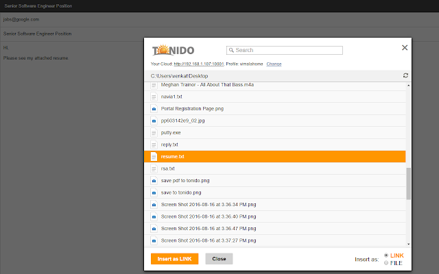Tonido for Gmail
