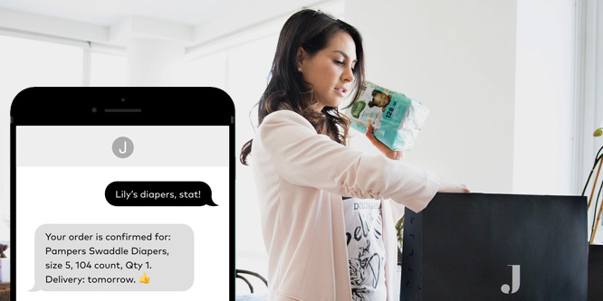 women ordering pampers through jetblack ai