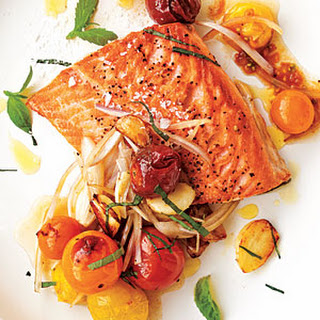 Arctic Char with Blistered Cherry Tomatoes.