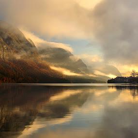 morning Bohinj by Bor Rojnik - Landscapes Sunsets & Sunrises ( mirrored reflections, autumn leaves, autumn, colorful, colors, reflections, lake, autumn colors, sunrise,  )
