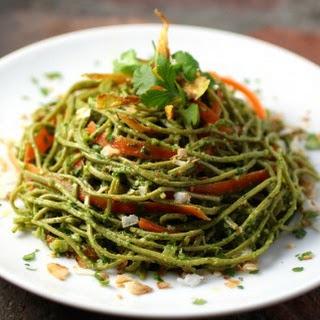 Edamame Spaghetti with Kale Cilantro Pesto.