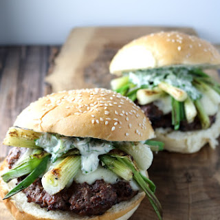 Smoked Swiss Burgers with Charred Scallions and Herb Mayo
