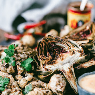 Roasted Artichoke and Cauliflower with Creamy Harissa Dip