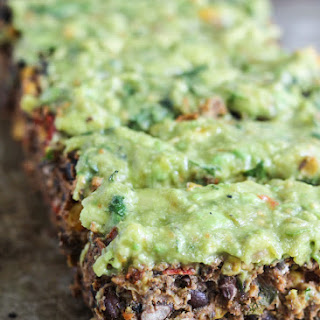 The Most Delicious Meatless Black Bean Meatloaf with Creamy Avocado Verde Sauce (vegan, gluten free)