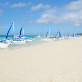 white beach by Philip Familara - Landscapes Beaches ( water, shore, white beach, sand, waves, green, tourism, beauty in nature, beach, travel, sail boat, coast, island, tourist, blue sky, boracay, cloud, trees, philippines, travel photography )