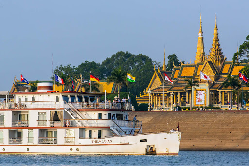 Lindblad Expeditions' ship The Jahan pulls in to a port in Phnom Penh, Cambodia.