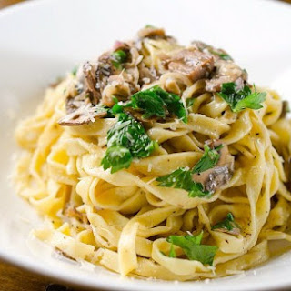 Fresh Pasta with Mushroom Cream Sauce.