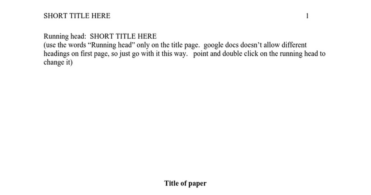 APA Template For Papersdoc Google Docs - Google docs cover page