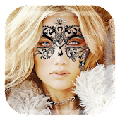 Lace Eye Mask Sticker Camera