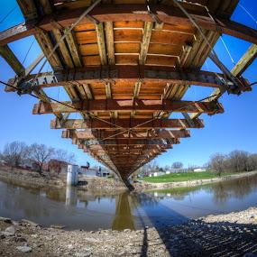 A Troll's Perspective by Greg Bennett - Buildings & Architecture Bridges & Suspended Structures ( suspension bridge, carlyle, il, general dean,  )