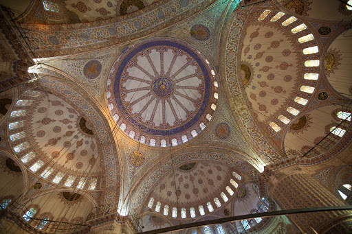 Inside-the-Blue-Mosque-5.jpg - The blue-tinted main dome and semi-domes of the Blue Mosque, or Sultan Ahmed Mosque, in Istanbul.
