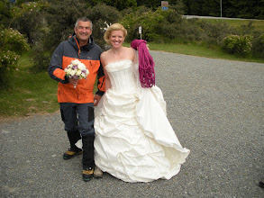 Photo: You meet the strangest people around helicopters. An English bride about to marry in the mountains compares footware and bouquets with Bill. Eat your heart out Jimmy Choo!