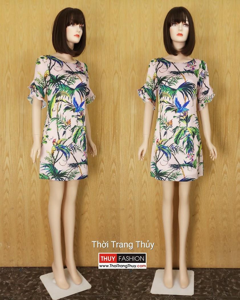 Váy suông tay loe họa tiết nhiệt đới mùa hè V602 thời trang thủy hải phòng