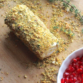 Pistachio Crusted Goat Cheese with Pomegranate Seeds