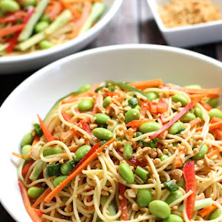 Cold Noodle Salad with Peanut Sauce and Vegetables
