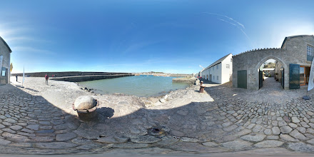 Photo: St Michael's Mount harbour and ticket office photosphere.
