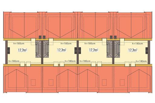 Hubert 2 zestaw 4 segmentów L+SL+S+LL - Rzut poddasza