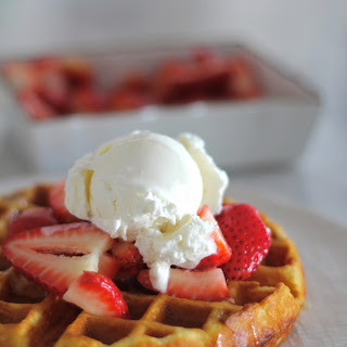 Buttermilk Waffles with Berries, Ice Cream and Buttermilk Syrup.