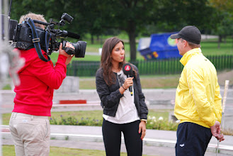Photo: Swedens Channel Four interviewing Carl-Johan Ryner live on thursday morning. Photo: Patric Fransson