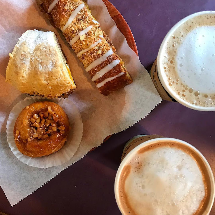 Mango strudel, banana bread pudding and macadamia nut sticky bun with coffee. Photo: Miranda Tze.