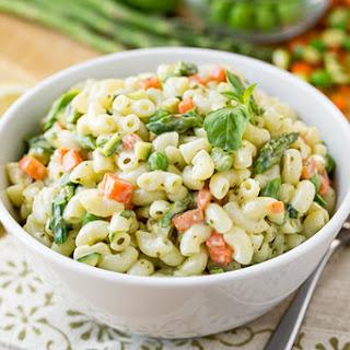 Macaroni Salad with Spring Vegetables and Creamy Lemon-Basil Dressing