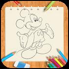 Draw cartoon MickeyMouse icon
