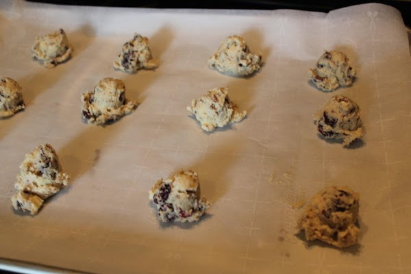 Drop by rounded tablespoons onto a cookie sheet, 1 ½ inches apart.
